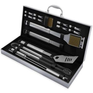 Home-Complete BBQ Grill Tools Set with 16 Barbeque Accessories