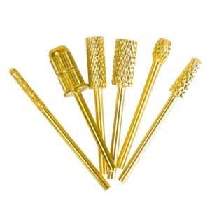 Nail Drill Bits Set 3/32'' Gold Carbide Nail Art Bit