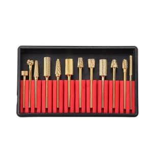 MAKARTT A-02 12Pcs Gold Carbide Nail Drill Bit