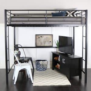 WE Furniture Full Metal Loft Bed