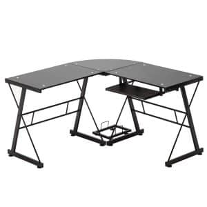 Mecor L-Shape Tempered Glass Computer Desk