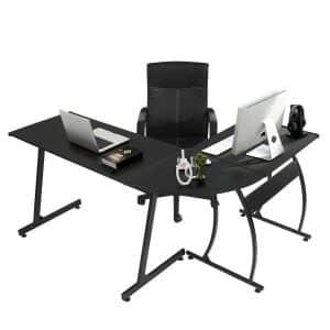 Green Forest L-shaped Computer Corner Desk