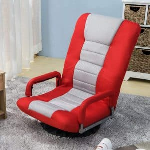 Swivel Video Rocker Gaming Chair Floor Chair Folding Sofa Lounger, Red