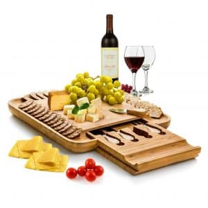 Bambüsi Bamboo Cheese Board with a Slide-Out Drawer