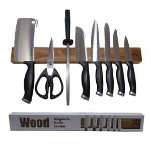 PremiumPresents Walnut Wood Magnetic Knife Strip