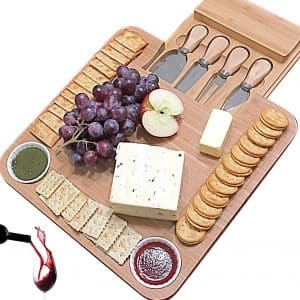iBambooMart Cheese Board with Slide-Out Drawer