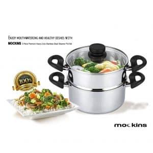 Mockins 3 Piece Premium Heavy Duty Stainless Steel Steam