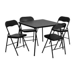 Flash Furniture 5-Piece Black Folding Table and Chair Set
