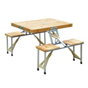 Outsunny 4 Person Wooden Portable Table Set