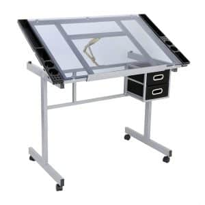 ZENY Glass Top Drawing Table