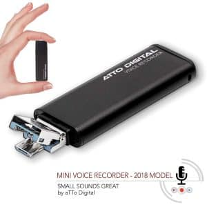 attodigit@l Slim USB Flash Drive Voice Activated Recorder