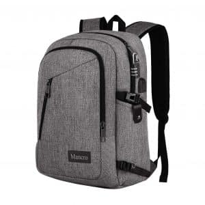 Mancro School Backpack, for Women and Men with USB Charging Port (Grey)