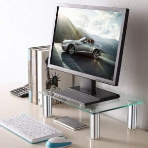 TAVR Clear Computer Glass Monitor Riser Stand