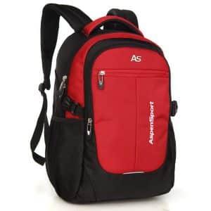 ASPENSPORT Lightweight and Waterproof Laptop Backpack for Girls - Black/Red
