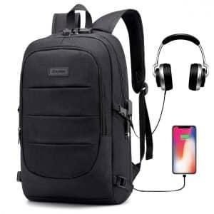 Ranvoo Waterproof Laptop Backpack with USB Charging Port and Headphone Interface (Black)