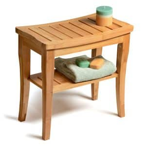 Bambusi Shower Bench Stool with Shelf