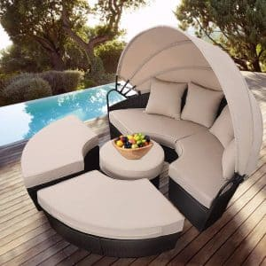 TANGKULA Patio Round Daybed