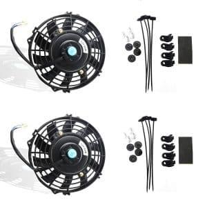 MOSTPLUS Electric Radiator Black Universal Slim Fan Push Set of 2 (7 Inch)