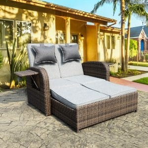 Thplus Outdoor Patio Rectangle Daybed