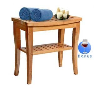 Bamboo Shower Bench Deluxe Seat