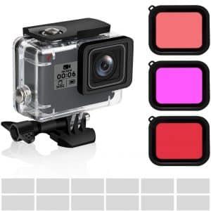 FINEST+ 3Pack Dive GoPro Filters plus Waterproof Housing Case