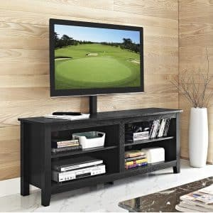 "WE Furniture 58"" black Wood TV-Stand with Mount"