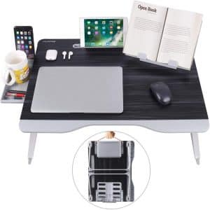 NEARPOW Laptop Bed Table with a Portable Book Stand & Drawer Storage