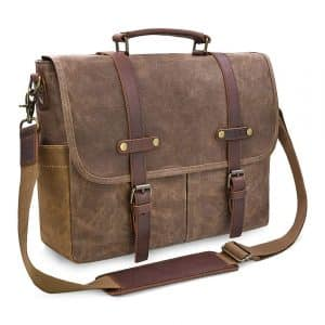 NEWHEY Waxed Canvas Briefcase Vintage Waterproof Genuine Leather Messenger Bag for Men