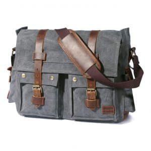 Lifewit 17.3-inches Men's Vintage Canvas Leather Messenger Bag