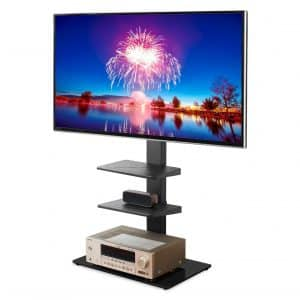 Rfiver Universal Floor Black TF2002 TV-Stand with Swivel Mount
