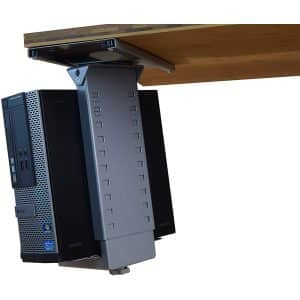 Uncaged Ergonomics Sliding Swiveling Under-Desk CPU Holder with adjustable height
