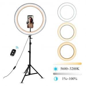Umsky LED Dimmable 14-Inches Selfie Ring Light w/ Tripod stand
