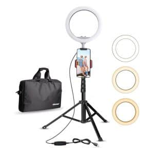 UBeesize 10.2-inches Selfie Ring Light w/ Tripod Stand