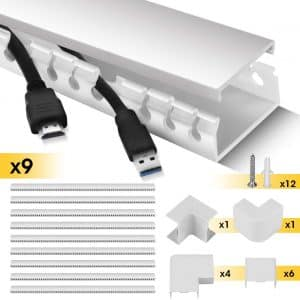 Stageek Cable Raceway Kit, Hide Wires for TVs, Computers - White