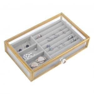 DesignSte Clear Glass Jewelry Box