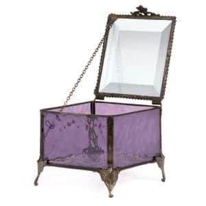 Personalized Purple Glass Box Organizer