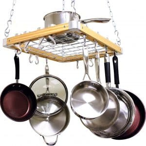 Cooks Ceiling Mounted Wooden Pot Rack