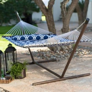 Island Bay Quilted Hammock with Steel Stand