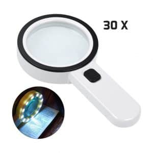 AIXPI Magnifying Glass with Light 30X 12 LED Lights