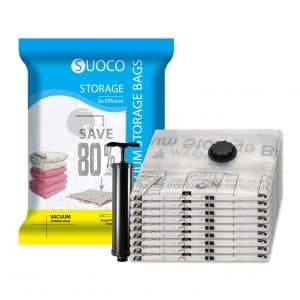 SUOCO Vacuum Storage Bags with a Travel Hand Pump