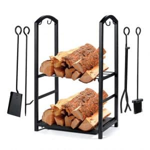 Syntrific Fireplace Log Rack with 4 Fireplace Tools