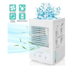 COMLIFE Portable Air Conditioner 5000mAh Rechargeable 3 Speed 3 Misting Levels