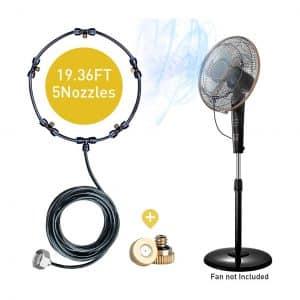HOMENOTE Fan Misting Kit 19.36FT 5 Detachable Brass Nozzles