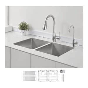 ZUHNE 32-Inch Double Bowl Deep Kitchen Sink