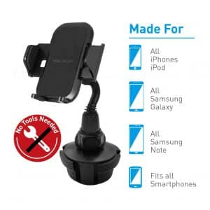 "Macally 1.7"" to 4.1"" Wide Cup Holder Phone Mount for Car"