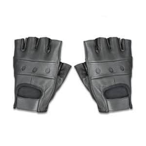 Raider Fingerless Leather Motorcycle Gloves