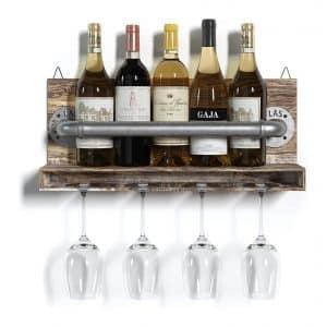 Barnyard Design Hanging Wood and Metal Wine Rack
