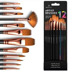 Benicci Professional 12 PCS Paint Brush Set