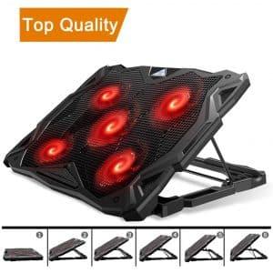 Pccooler Laptop Cooling Pad with 5 Quiet LED Fans