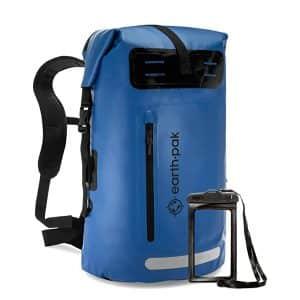 Earth Pak Heavy-Duty Roll-Top 35L Waterproof Backpack with Phone Case